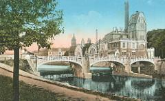Historische Aufnahme vom Wasserkraftwerk / Elektrizitätswerk Elbe, Labe in Hradec Králové / Königgrätz; Industriedenkmal - Jugendstilarchitektur, Art Nouveau - fertiggestellt 1912, Architekt  Franz Sander / Josef Gocár.