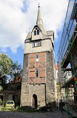 Alter Wehrturm in Quedlinburg;  Kuhhirtenturm / Turm opm Tittenplan; mittelalterlicher Stadtturm, Teil der ehem. Stadtbefestigung.