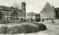 Historische Ansicht aus Aschersleben - Blick von der Bestehornstrasse zum Bestehornhaus und Postamt.
