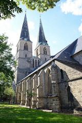 St. Nikolaikirche in Quedlinburg, erstmalige Erwähnung 1222, Westbau frühgotisch - Rest spätgotisch.