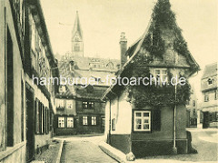 Altes Bild vom Finkenherd in Quedlinburg - Fachwerkhaus um  1530 -