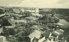 Altes Foto / Luftaufnahme von der Elbe in  Nymburk / Neuenburg - Blick zum Jugendstil / Art Nouveau Wasserkraftwerk.