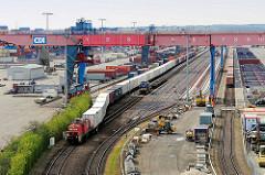 Blick über den Containerbahnhof auf dem Containerterminal Hamburg Altenwerder - ein Portalkran erstreckt sich über die Gleise.