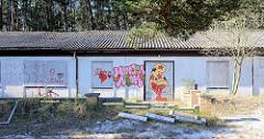 Unbenutzte, leerstehende Reihenhäuser, Ferienhäuser / ehem. Ferienanlage im Kiefernwald an der Ostsee in Prerow. Mit Holzplatten vernagelte Fenster und Türen - buntes Graffiti.