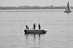 Zwei Angler im Angelboot / Motorboot im Bodden bei Hiddensee.