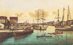 Historische colorierte Ansicht vom Harburger Hafen - Schiffe im Lotsekanal.