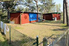 Kleine Ferienhäuser zwischen Kiefern - eingezäunter Platz;  Holzhäuser mit gesicherten Fenstern im Ostseebad Prerow.