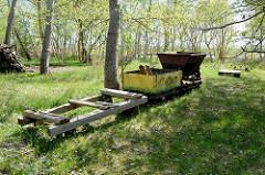 Alte Lorenbahn für den Transport auf der Insel Kirr im Barther Bodden bei Zingst.Die Vogelschutzinsel Kirr ist eine Salzgrasinsel mit einer Länge von ca. 3,5 km und einer maximalen Breite von 1,5 km mit weitverzweigten Prielen. Durch den Naturschu
