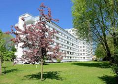 Mehrstöckiges weisses Wohnhaus, Hochhaus - blühender Baum, Greifenberger Park in Hamburg Rahlstedt.