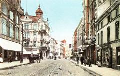 Historische Ansicht von der Wilstorfer Strasse in Harburg - Wohnhäuser / Geschäftshäuser, Jugendstilarchitektur - wartendes Pferdefuhrwerk, Strassenbahnschienen im Kopfsteinpflaster.
