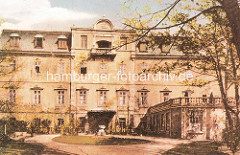 Historische Aufnahme von der Harburger Schlossinsel. Das Harburger Schloss auf der Schlossinsel im Harburger Binnenhafen ist das älteste bauliche Zeugnis von Hamburg Harburg und Entstehungskern der Siedlung Harburg, der späteren Stadt Harburg/Elbe