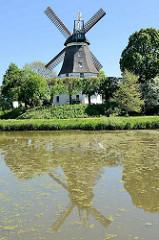Windmühle Johanna in Hamburg Wilhelmsburg - Wahrzeichen der Elbinsel. Mühle von 1875 - technisches Kulturdenkmal.