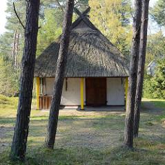Mit Reet gedecktes Ferienhaus zwischen Bäumen - Ostseebad Prerow.