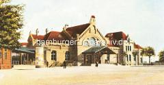 Altes Bild vom Harburger Bahnhof - Historisches Bahnhofsgebäude / Empfangsgebäude vom Harburger Bahnhof, eröffnet 1897 - Architekt Hubert Stier.