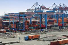 Blick über das Hamburger Container Terminal Gelände Altenwerder zum Containerlager und den Portalkränen, die bereitstehende Sattelschlepper mit ihrer Fracht beladen.