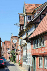 Historische Fachwerkarchitektur in der Elbstraße von Lauenburg / Elbe.