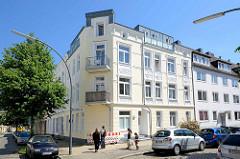 Etagenhäuser - Mietshäuser / Eckgebäude an der Feldnerstraße von Hamburg Heimfeld - Gründerzeitarchitektur.