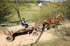 Ursprüngliches Masuren / Polen; Bauer mit Pferd und Wagen auf dem Sandweg.