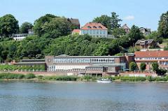 Blick über die Elbe zur ehem. GEG Zündholzfabrik in Lauenburg, jetzt Jugendherberge / Hostel der DJH