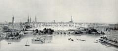 Historisches Panorama der Hansestadt Hamburg - Blick über die Lombardsbrücke zur Binnenalster - eine Eisenbahn fährt an der Straße, lks. das Gebäude der Kunsthalle.