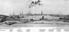 Historisches Panorama der Hansestadt Hamburg - Türme der Stadt, Befestigungsanlagen an der Binnenalster ( 1727 ).