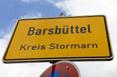 Ortschild von Barsbüttel, Kreis Stormarn.