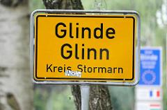 Ortschild von GLINDE - Glinn, Kreis Stormarn.