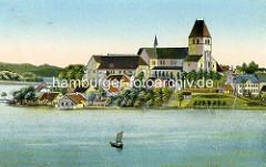 Historische Ansicht über den Domsee zum Ratzeburger Dom -  romanische Backsteinarchitektur, ab 1160 erbaut; gestiftet von Heinrich dem Löwen als Bischofskirche des Bistums Ratzeburg.