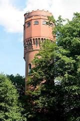 Ehem. Wasserturm in Mölln / Klüschenberg; fertiggestellt 1913 nach Plänen von Hans Ritter, neoromanischer Baustil.