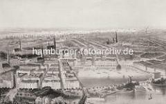 Historische Luftansicht von der neuaufgebauten Hamburger Alststadt und Neustadt nach dem Großen Brand von 1842. Im Vordergrund re. die Lombardsbrücke und die Binnenalster, dahinter die St. Michaeliskirche und die Elbe.