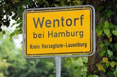 Ortschild Wentorf bei Hamburg, Kreis Herzogtum-Lauenburg.
