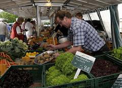 Marktstand mit frischem Gemüse auf dem Bergedorfer Wochenmarkt - der Markthändler füllt gerade Vierländer Kartoffeln in eine Waagschale. Im Vordergrund stehen Gemüsekisten gefüllt mit den unterschiedlichsten Sorten Vierländer Salate. Die Vierland