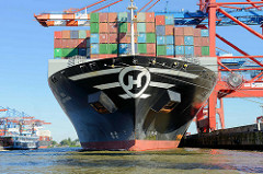 Der Containerfrachter Hanjin Gold liegt am Hamburger Containerterminal EUROGATE im Hamburger Hafen.