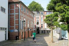 Mehrstöckiges Fachwerkhaus - Mühlengebäude am Mühlenplatz in  Bad Oldesloe.
