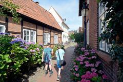 Historische Bürgerhäuser, Fachwerkgebäude - blühende Blumen am Wegesrand; Heiligengeiststraße in Bad Oldesloe.