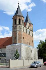 St. Marienkirche in Aken / Elbe - ursprünglich erbaut 1188, 1485 abgebrannt; Sie wurde dann nach dem Vorbild der Nikolaikirche wieder aufgebaut.