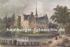 Blick über den Schlossgraben zum Bergedorfer Schloss ca. 1850. Die Ursprünge vom Wasserschloss in Bergedorf wurde um 1220 angelegt, der jetzige Bau ab dem 15. Jh. entwickelt und seitdem mehrfach verändert. Die Anlage steht seit 1926 unter Denkmal