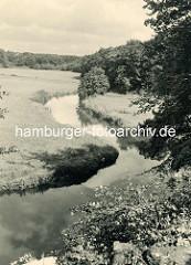 Historische Ansicht vom Lauf der Bille durch die Wiesen bei Bergedorf.