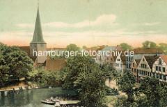 Altes Bild vom Mühlenteich in Bergedorf - Blick auf die Kirche St. Petri und Pauli.