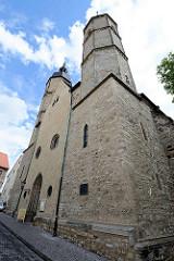 St. Andreas Kirche in der Lutherstadt Eisleben - die Pfarrkiche in der Eisleber Altstadt hat eine spätgotische Halle mit dreischiffigem Chor. Martin Luther hielt in der Zeit vom 31. Januar bis zum 15. Februar 1546 seine vier letzten Predigten und füh