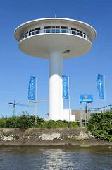 Wohnturm am Baakenhöft, Baakenhafen in der Hamburger Hafencity - sogen. Lighthouse Zero, Wohnrotunde mit 360° Panorama.