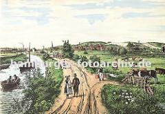 Historisches Motiv aus Bergedorf ca. 1850 - Blick auf den Schleusengraben Richtung die Bergedorfer Stadt. In der linken Bildmitte der Kirchturm der St. Petri und Pauli Kirche, auf dem Schleusengraben fahren ein Ruderboot und Segelkahn.