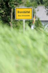 Ortsschild Brunsbüttel, Kreis Dithmarschen.