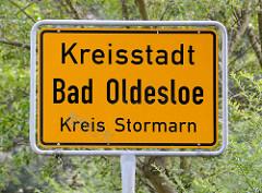 Ortsschild Kreisstadt Bad Oldesloe, Kreis Stormarn.