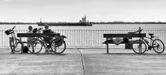 Blick auf die Elbe bei Brunsbüttel - Fahrradfahrer rasten auf ihrer Tour entlang der Elbe - ein Tankschiff fährt Richtung Brunsbüttler Schleuse.