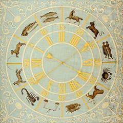 Astronomische Uhr an der Decke vom Eingangsportal im Schloss Wörlitz.