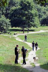 Hundeauslaufgebiet / Hundewiese im Niendorfer Gehege; Spaziergänger mit Hunden.