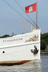 Bug mit Hamburgflagge - Traditionsdampfer Schaarhörn, erbaut 1908 als Peildampfer und für Repräsentationszwecke des Hamburger Senats.