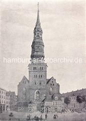 Hamburger Nikolaikirche vor dem Großen Brand 1842.
