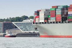 Schiffsbug Containerfrachter Mackinac Bridge auf der Norderelbe - im Hintergrund das Bürogebäude Dockland in Hamburg Neumühlen / Altona Altstadt..